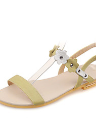 Women's Shoes Leather Flat Heel Sling back/Open Toe Flower Sandals Dress/Casual Green/White/Beige