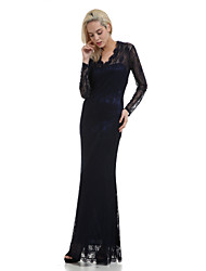 Women's Sexy Slim Blue/Black/White V-neck Long Sleeve Lace Maxi Dress