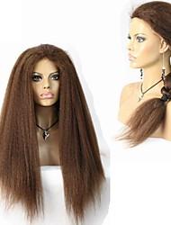 afro verworrene gerade menschliches reines Haar volle Spitze / Spitze vorne Perücke für schwarze Frauen