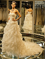 Ball Gown Wedding Dress Vintage Inspired Chapel Train Sweetheart Tulle with Cascading Ruffle Criss-Cross
