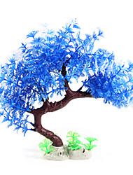 Artificial Plastic Tree Plant Decor Aquarium Fish Tank Water Grass Ornament Blue