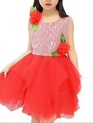 Vestido Chica de-Verano-Poliéster-Rosa / Morado / Rojo