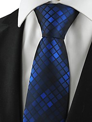 Checked Pattern Navy Mens Tie Formal Suits Necktie Wedding Holiday Gift KT1061