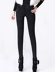 Women's Solid Black Skinny Pants,Casual / Day Bodycon Superelastic Fashion Slim Thin Jeans Cotton