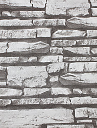 HaokHome®  Vintage Faux Stone Wallpaper Roll Lt.Grey 3D Brick Realistic Paper Rolls Room Decoration Wall Covering