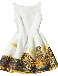 Girl's White Dress / Skirt,Print Polyester Summer / Spring / Fall