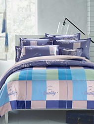 Plaid Polyester 4 Piece Duvet Cover Sets