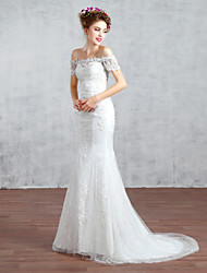 Trumpet/Mermaid Wedding Dress-Court Train Bateau Lace / Tulle