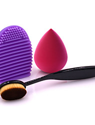 Oval Foundation Brush MakeUp Washing Cleaning Scrubber Board and Makeup Sponge Puff