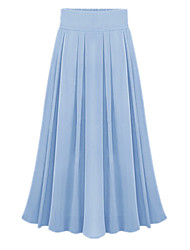 Spring Summer Women's Fashion Pleated Elastic Waist Chiffon Work Casual Holiday Beach Long Skirt