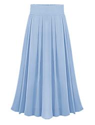 Spring Summer Women's Fashion Pleated Elastic Waist Chiffon Work Casual Holiday Beach Long Skirt