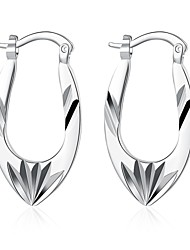 lureme®Fashion Style 925 Sterling Silver Irregular Hollow Shaped Hoop Earrings