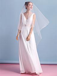 Sheath/Column Wedding Dress - Ivory Ankle-length V-neck Chiffon