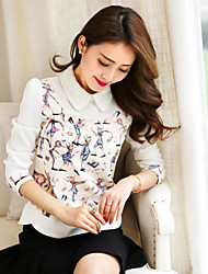 Wake Up® Women's Shirt Collar Long Sleeve Shirt & Blouse White-CS651