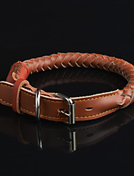 Dog Collar Waterproof Black / Brown Genuine Leather