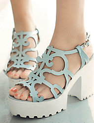 Women's Shoes Chunky Heels/Platform/Slingback/Open Toe Sandals Party & Evening/Dress Blue/Pink/Silver/Gold
