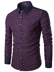 Men's Print Casual / Sport Shirt,Cotton Long Sleeve Blue / Red