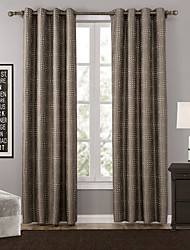 One Panel Modern Polka Dots Brown Bedroom Polyester Blackout Curtains Drapes