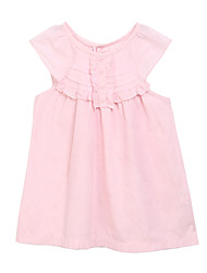 Girl's Solid Dress,Cotton Summer Pink