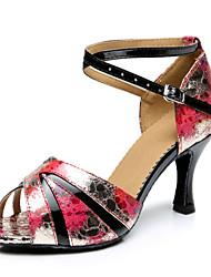 Customizable Women's Dance Shoes Leatherette Leatherette Latin Sandals Stiletto Heel Performance Multi-color