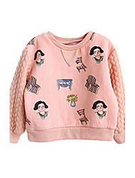 Girl's Pink / Beige Hoodie & Sweatshirt Cotton Winter