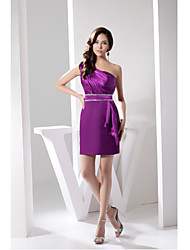 Cocktail Party Dress Sheath / Column One Shoulder Short / Mini Charmeuse with Beading / Side Draping