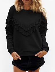 Damen Hoodies Lässig/Alltäglich Street Schick Solide Schwarz / Grau Baumwolle