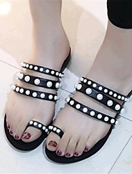 Women's Shoes Leatherette Flat Heel Comfort Sandals / Slippers Outdoor / Casual Black / White