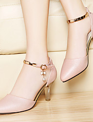 Zapatos de mujer-Tacón Stiletto-Tacones-Sandalias-Oficina y Trabajo / Vestido / Fiesta y Noche-Semicuero-Rosa / Blanco