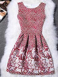 Mulheres Vestido Bainha Moda de Rua Floral Acima do Joelho Decote Redondo Poliéster