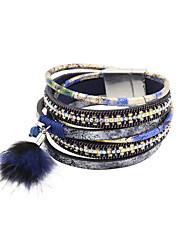 Fashion Trendy 3 Rows Chain/Crystal Set/Leaf/Fur Charm Leather Wrap Bracelet