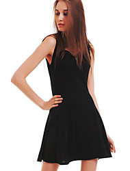 Women's Black Sweetheart Micro-elastic Sleeveless Above Knee Dress (Chiffon)
