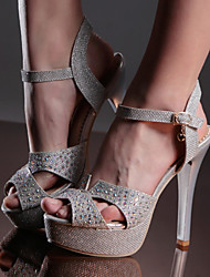 Women's Shoes Stiletto Heels/Platform/Sling back/Open Toe Wedding Sandals Party & Evening/Dress Silver/Gold