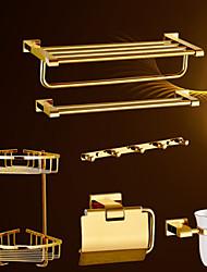 Набор аксессуаров для ванной Карбонитрид титана Крепление на стену 60cm*21cm*14cm(23.6*8.4*5.5inch) Медь Современный