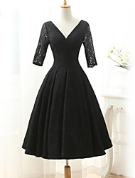 Tea-length Lace Bridesmaid Dress-Black Ball Gown V-neck