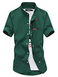 Masculino Camisa Casual / Escritório / Formal Cor Solida Manga Curta Algodão