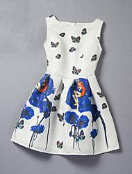 Girl's Blue / Yellow Dress Rayon Summer / Spring / Fall