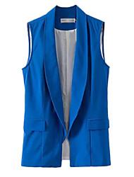 Women's Solid Blue / White / Black / Yellow Blazer,Simple Shirt Collar Sleeveless
