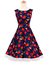 50s Era Vintage Style Sleeveless Rockabilly Dress Audrey Hepburn Cosplay Costume Blue Strawberries (with Petticoat)