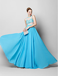 TS Couture Prom Formal Evening Dress - See Through Sheath / Column Jewel Floor-length Chiffon Tulle with Appliques