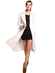 Women's Solid White Coat,Simple Long Sleeve Cotton