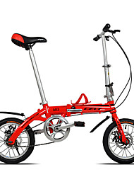 Dequilon K8 14 inch mini folding bike double disc brakes bicycle Ultraportability red single speed