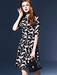 Women's Vintage Print A Line Dress,Shirt Collar Above Knee Silk