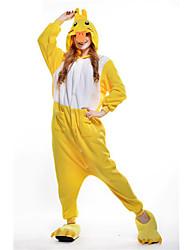 kigurumi Pyjamas New Cosplay® Canard Collant/Combinaison Fête / Célébration Pyjamas Animale Halloween Jaune Mosaïque Polaire Kigurumi Pour