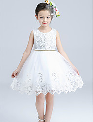 A-line Knee-length Sequined Pattern Flower Girl Dress-Cotton / Satin / Tulle Sleeveless