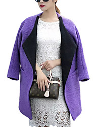 Women's Solid Red / Gray / Purple Coat,Simple Long Sleeve Polyester