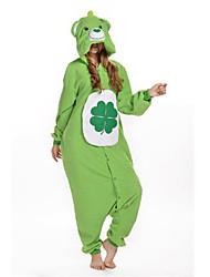 Kigurumi Pyjamas New Cosplay® / Bär / Waschbär Gymnastikanzug/Einteiler Halloween Tiernachtwäsche Grün Patchwork Polar-Fleece Kigurumi