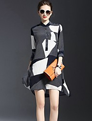 Women's Cute Striped A Line Dress,Stand Above Knee Polyester