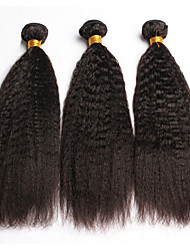 3Pcs/Lot 10''-28''Brazilian Virgin Hair Natural Black Kinky Straight Raw Human Hair Weave