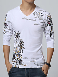 Men's Fashion Chinese Style Printed Casual Slim Fit Cotton Long-Sleeve T-Shirt